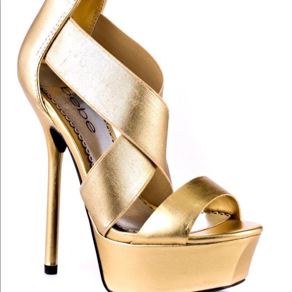 4a2dcf74158c bebe Shoes - Bebe Women s Metallic Cleo Platform Sandals 8.5
